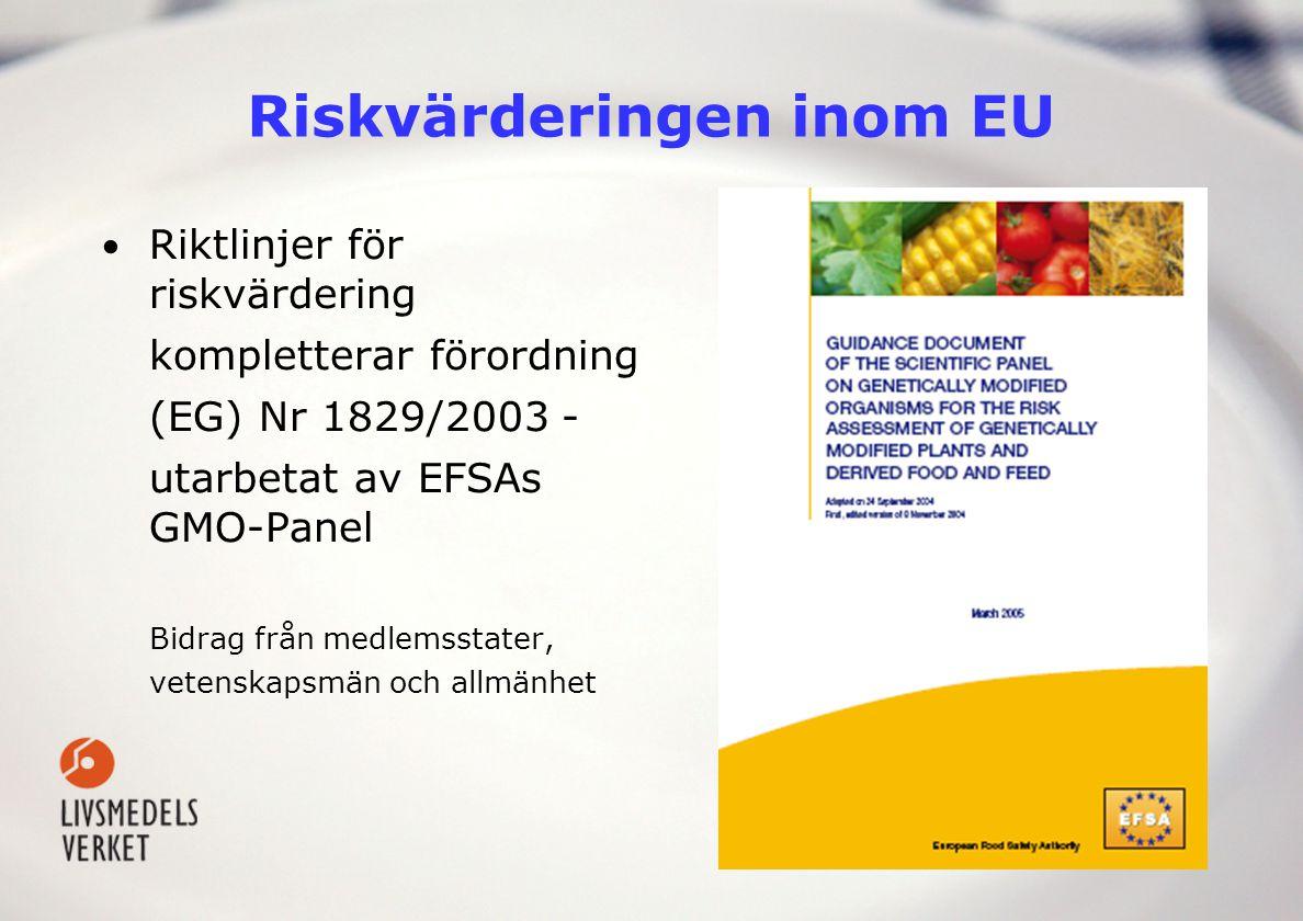 Riskvärderingen inom EU Riktlinjer för riskvärdering kompletterar förordning (EG) Nr 1829/2003 - utarbetat av EFSAs GMO-Panel Bidrag från medlemsstate