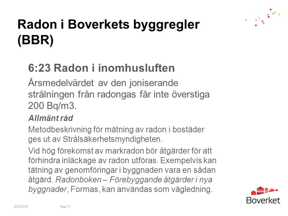 Radon i Boverkets byggregler (BBR) 6:23 Radon i inomhusluften Årsmedelvärdet av den joniserande strålningen från radongas får inte överstiga 200 Bq/m3.