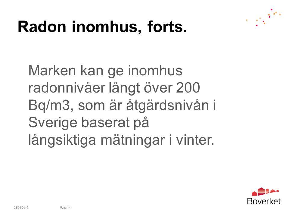 29/03/2015Page 14 Radon inomhus, forts.