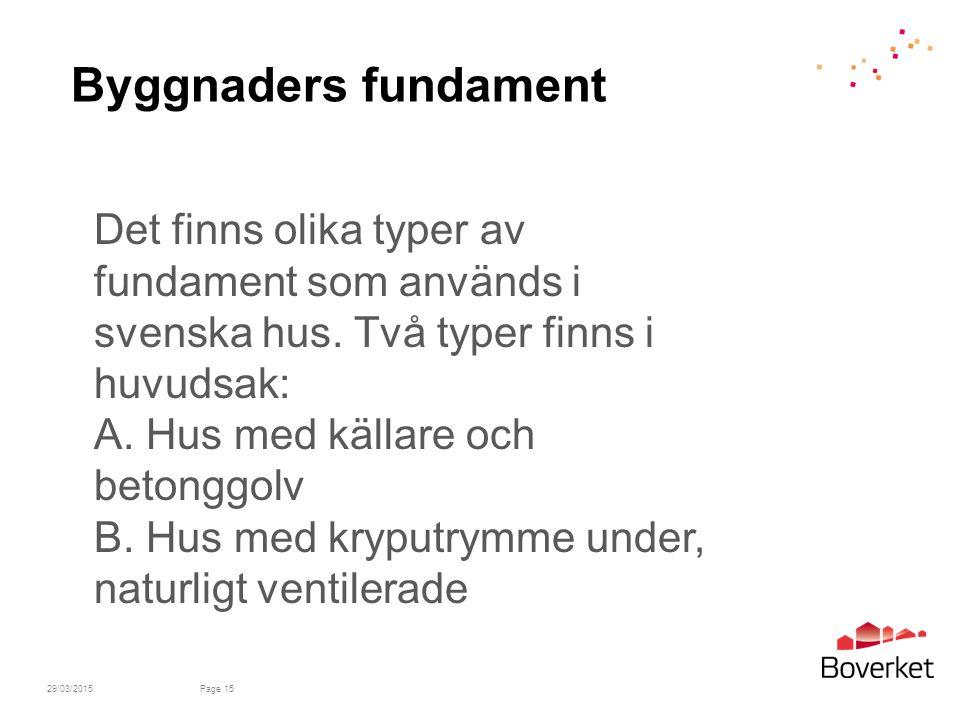 29/03/2015Page 15 Byggnaders fundament Det finns olika typer av fundament som används i svenska hus.