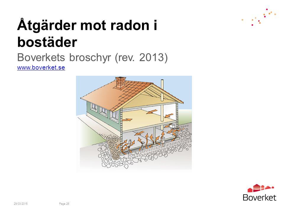 Åtgärder mot radon i bostäder Boverkets broschyr (rev.