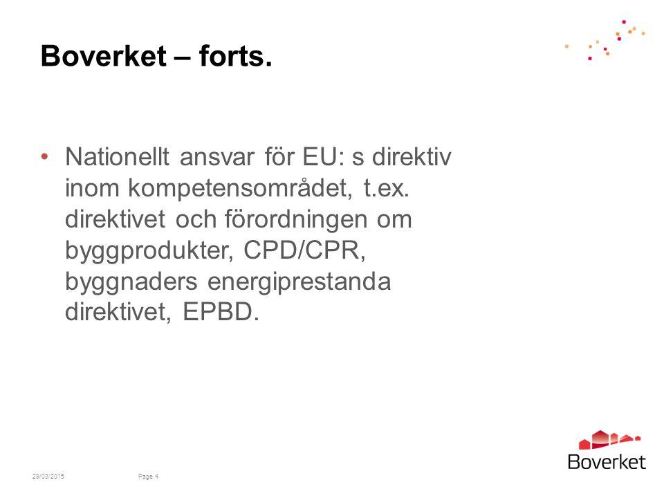 Boverket – forts.Nationellt ansvar för EU: s direktiv inom kompetensområdet, t.ex.