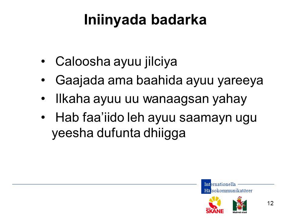 Internationella Hälsokommunikatörer 12 Iniinyada badarka Caloosha ayuu jilciya Gaajada ama baahida ayuu yareeya Ilkaha ayuu uu wanaagsan yahay Hab faa