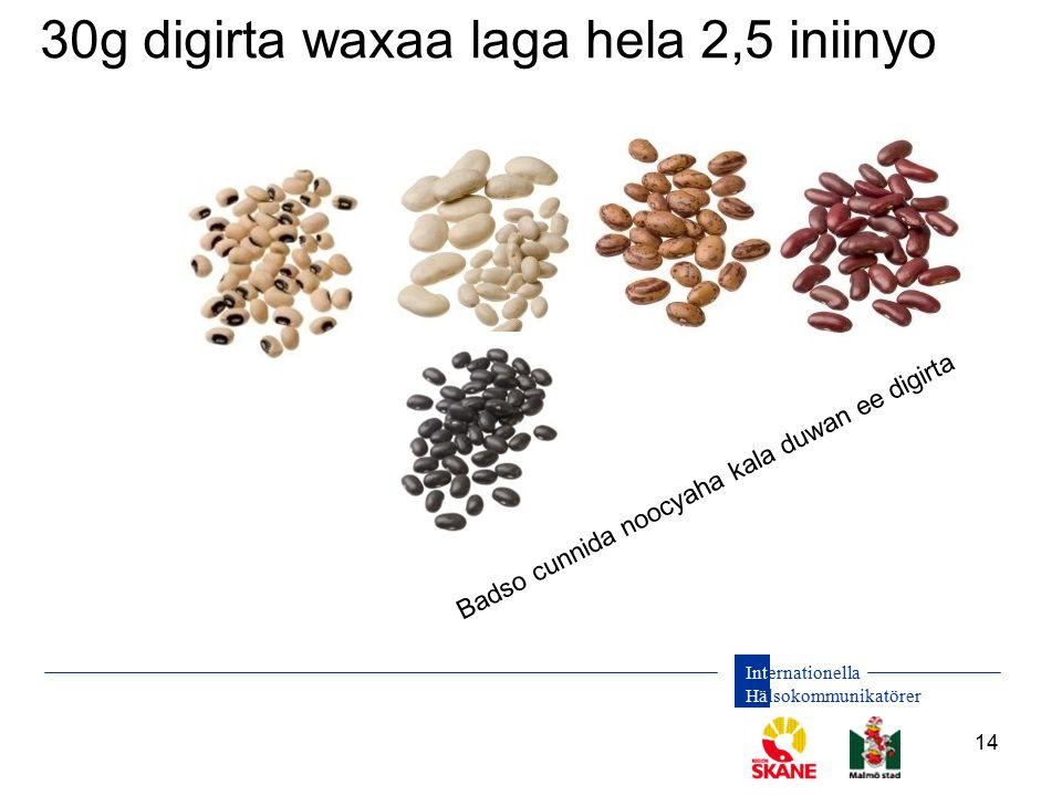 Internationella Hälsokommunikatörer 14 30g digirta waxaa laga hela 2,5 iniinyo Badso cunnida noocyaha kala duwan ee digirta