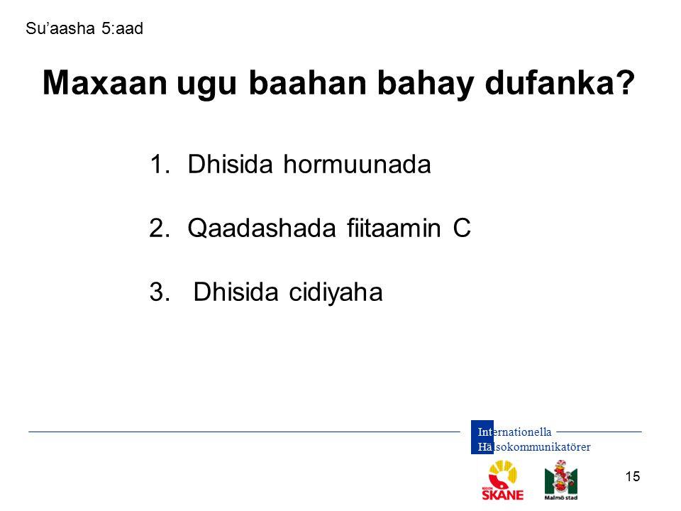 Internationella Hälsokommunikatörer 15 Su'aasha 5:aad Maxaan ugu baahan bahay dufanka.