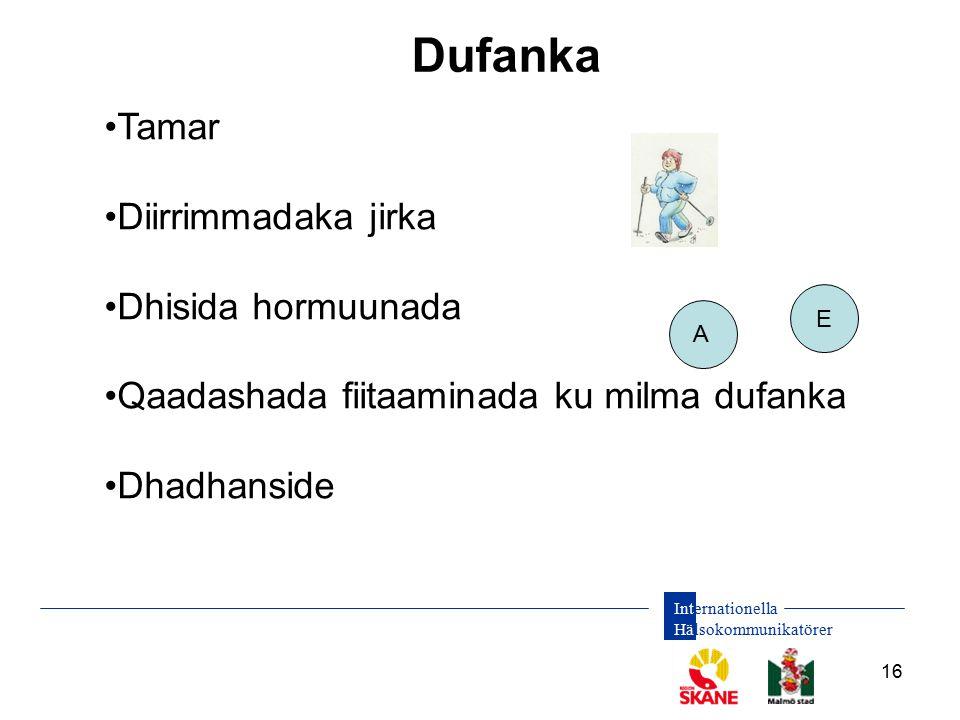 Internationella Hälsokommunikatörer 16 Dufanka A E Tamar Diirrimmadaka jirka Dhisida hormuunada Qaadashada fiitaaminada ku milma dufanka Dhadhanside