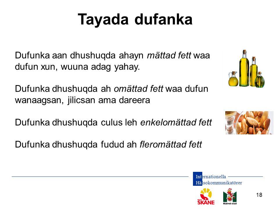 Internationella Hälsokommunikatörer 18 Tayada dufanka Dufunka aan dhushuqda ahayn mättad fett waa dufun xun, wuuna adag yahay. Dufunka dhushuqda ah om