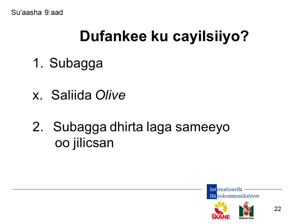 Internationella Hälsokommunikatörer 22 1.Subagga x.Saliida Olive 2. Subagga dhirta laga sameeyo oo jilicsan Su'aasha 9:aad Dufankee ku cayilsiiyo?