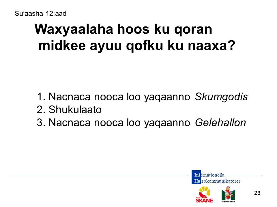 Internationella Hälsokommunikatörer 28 Waxyaalaha hoos ku qoran midkee ayuu qofku ku naaxa? Su'aasha 12:aad 1. Nacnaca nooca loo yaqaanno Skumgodis 2.