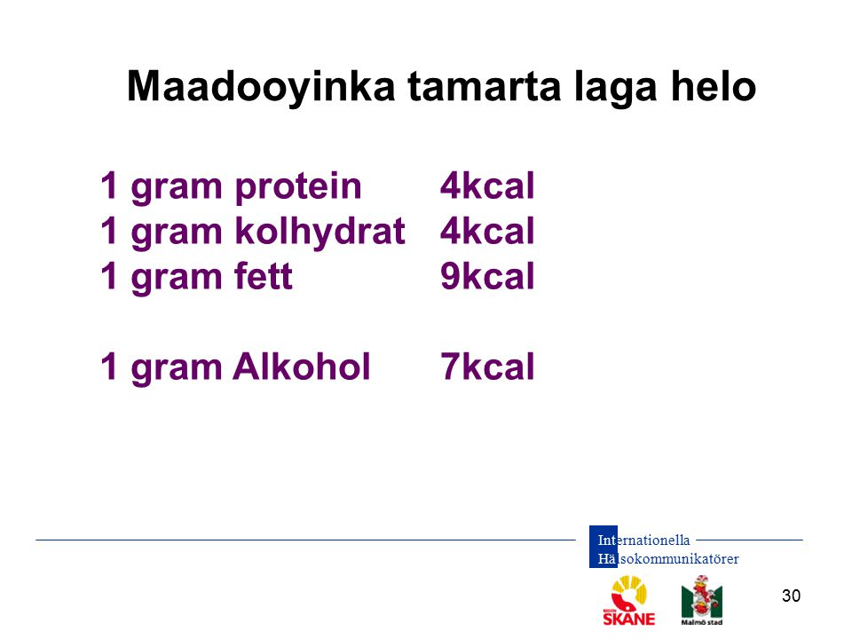 Internationella Hälsokommunikatörer 30 1 gram protein4kcal 1 gram kolhydrat4kcal 1 gram fett9kcal 1 gram Alkohol7kcal Maadooyinka tamarta laga helo
