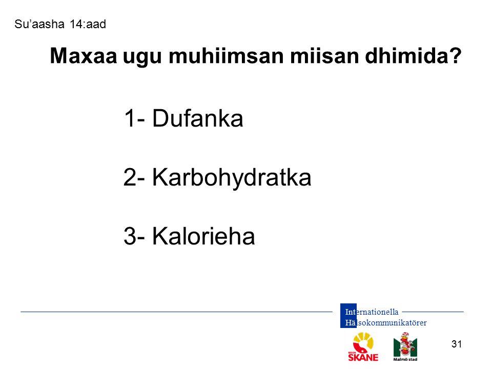 Internationella Hälsokommunikatörer 31 Su'aasha 14:aad Maxaa ugu muhiimsan miisan dhimida? 1- Dufanka 2- Karbohydratka 3- Kalorieha