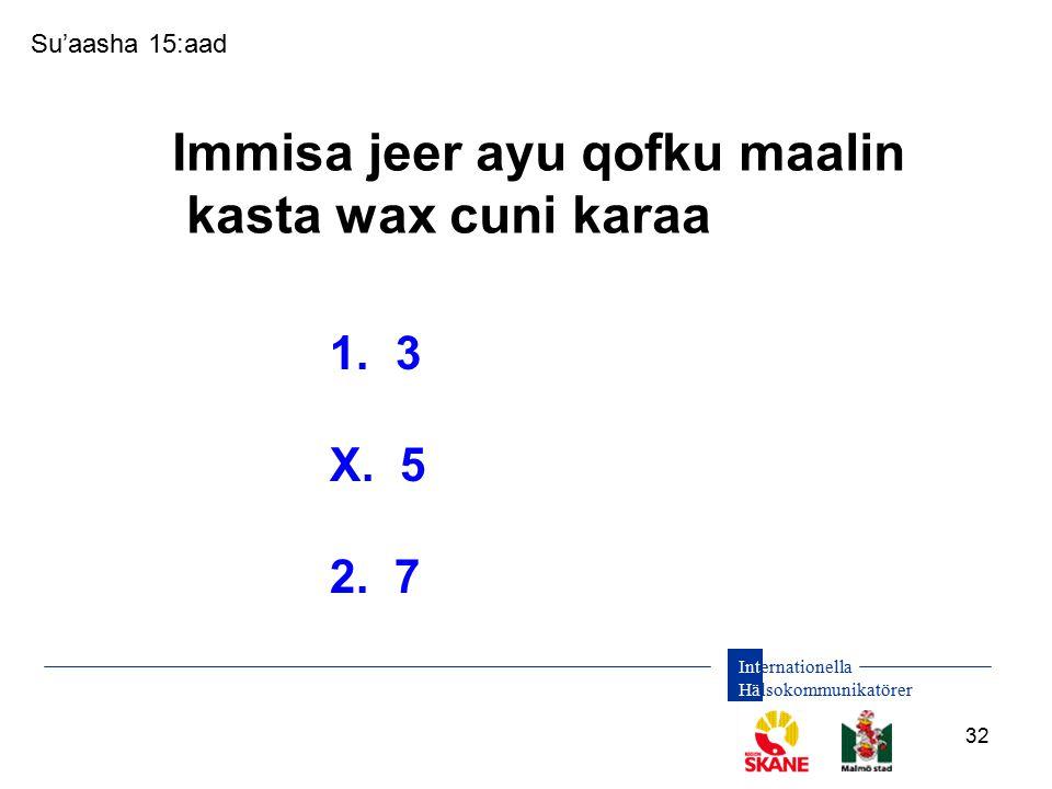 Internationella Hälsokommunikatörer 32 1. 3 X. 5 2. 7 Su'aasha 15:aad Immisa jeer ayu qofku maalin kasta wax cuni karaa