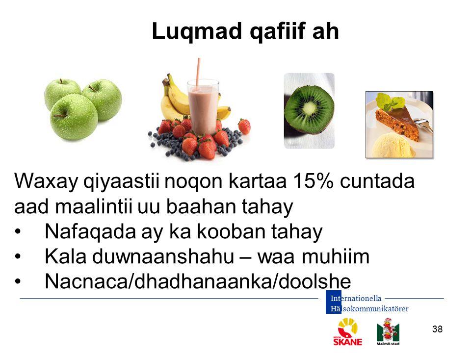 Internationella Hälsokommunikatörer 38 Luqmad qafiif ah Waxay qiyaastii noqon kartaa 15% cuntada aad maalintii uu baahan tahay Nafaqada ay ka kooban t