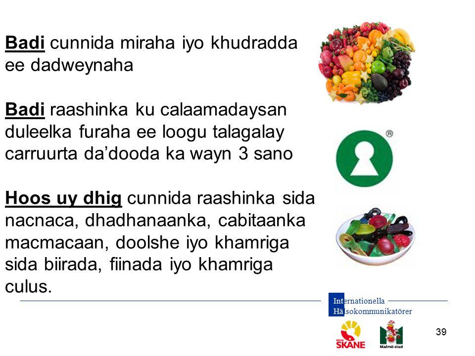 Internationella Hälsokommunikatörer 39 Badi cunnida miraha iyo khudradda ee dadweynaha Badi raashinka ku calaamadaysan duleelka furaha ee loogu talaga