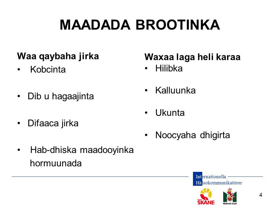 Internationella Hälsokommunikatörer 4 MAADADA BROOTINKA Waa qaybaha jirka Kobcinta Dib u hagaajinta Difaaca jirka Hab-dhiska maadooyinka hormuunada Wa