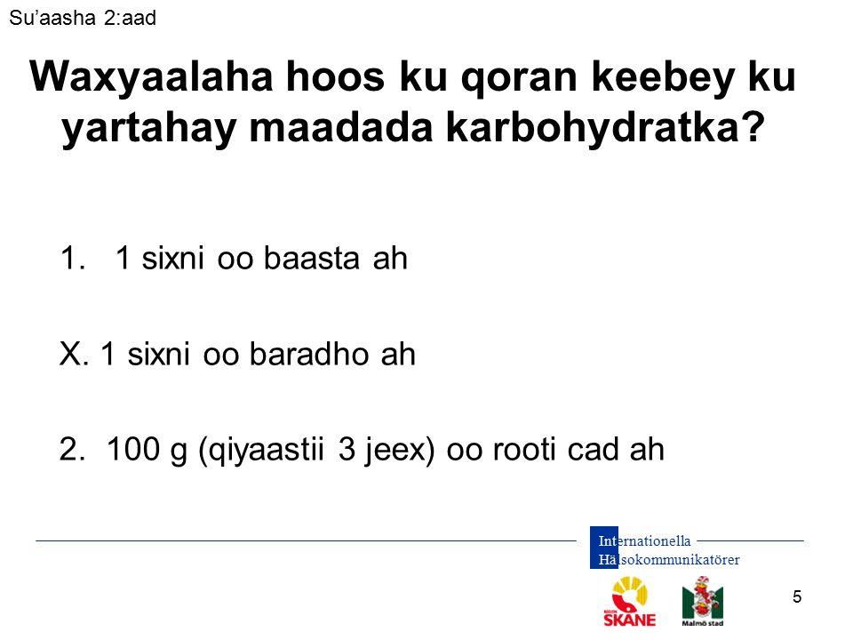 Internationella Hälsokommunikatörer 5 Waxyaalaha hoos ku qoran keebey ku yartahay maadada karbohydratka.
