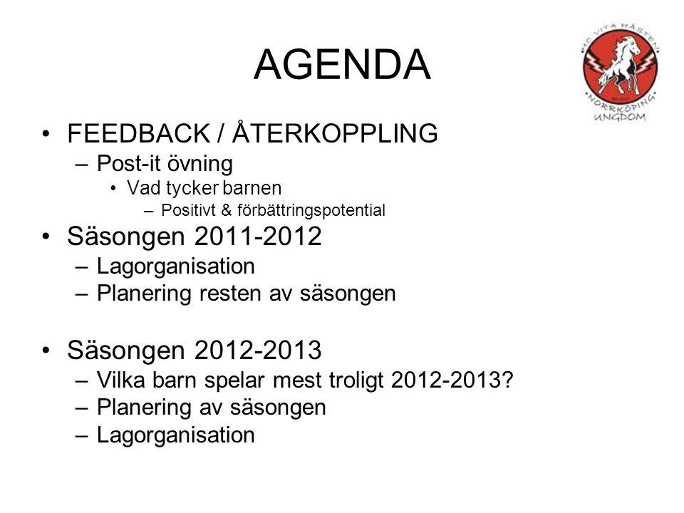AGENDA FEEDBACK / ÅTERKOPPLING –Post-it övning Vad tycker barnen –Positivt & förbättringspotential Säsongen 2011-2012 –Lagorganisation –Planering resten av säsongen Säsongen 2012-2013 –Vilka barn spelar mest troligt 2012-2013.