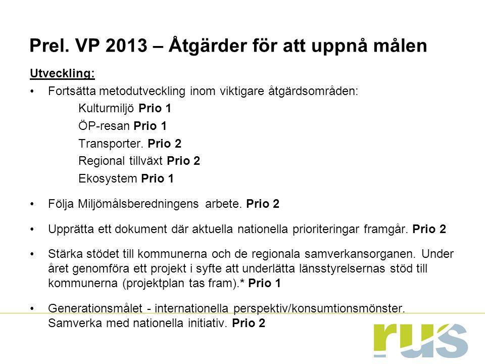 Prel. VP 2013 – Åtgärder för att uppnå målen Utveckling: Fortsätta metodutveckling inom viktigare åtgärdsområden: Kulturmiljö Prio 1 ÖP-resan Prio 1 T