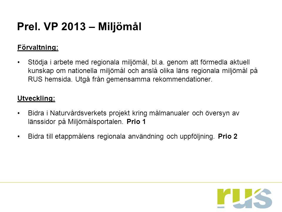 Prel. VP 2013 – Miljömål Förvaltning: Stödja i arbete med regionala miljömål, bl.a. genom att förmedla aktuell kunskap om nationella miljömål och ansl