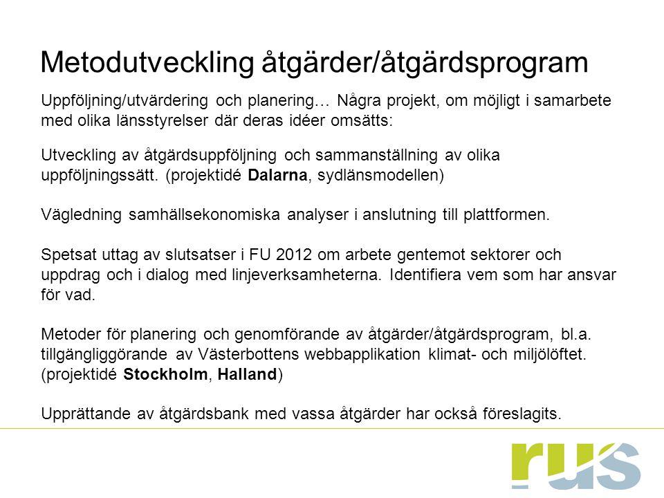 Metodutveckling åtgärder/åtgärdsprogram Uppföljning/utvärdering och planering… Några projekt, om möjligt i samarbete med olika länsstyrelser där deras