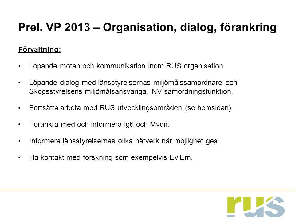 Prel. VP 2013 – Organisation, dialog, förankring Förvaltning: Löpande möten och kommunikation inom RUS organisation Löpande dialog med länsstyrelserna
