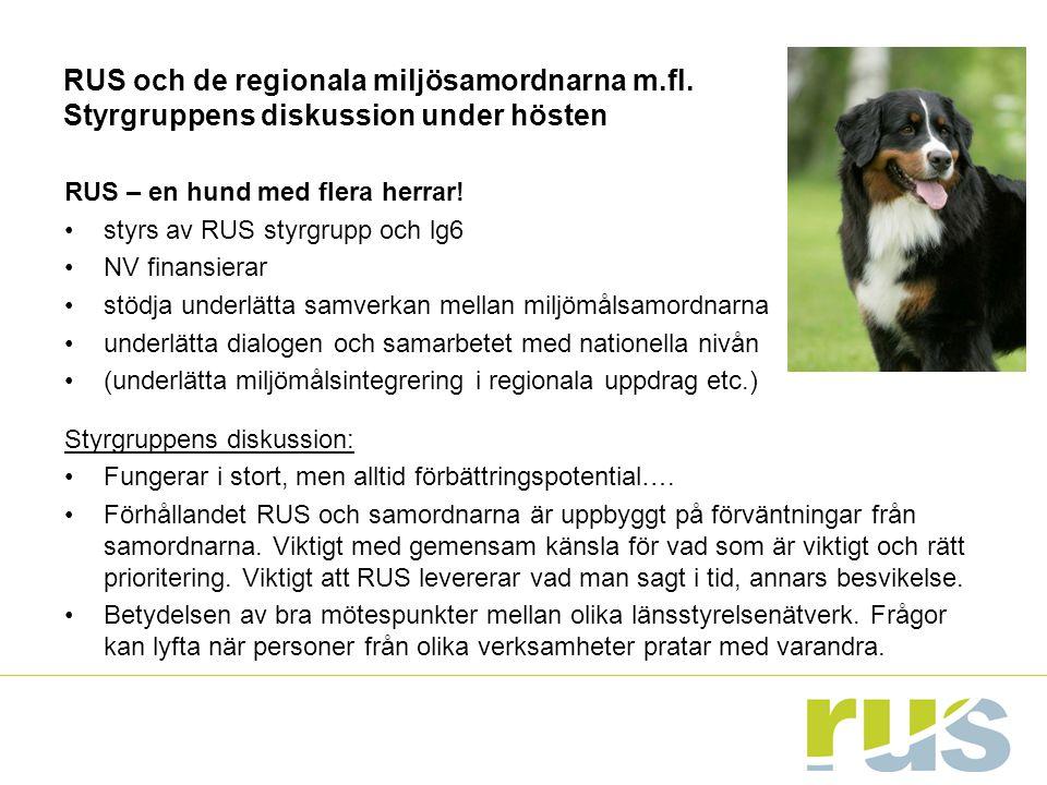 RUS och de regionala miljösamordnarna m.fl. Styrgruppens diskussion under hösten RUS – en hund med flera herrar! styrs av RUS styrgrupp och lg6 NV fin