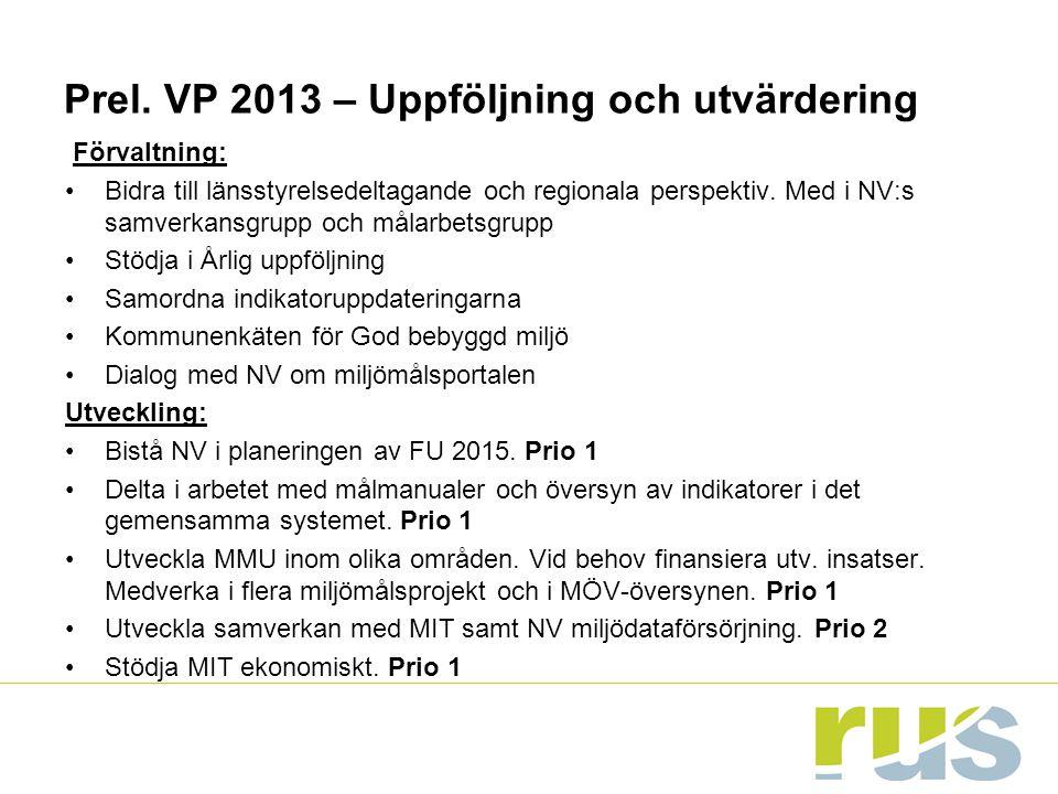 Prel. VP 2013 – Uppföljning och utvärdering Förvaltning: Bidra till länsstyrelsedeltagande och regionala perspektiv. Med i NV:s samverkansgrupp och må