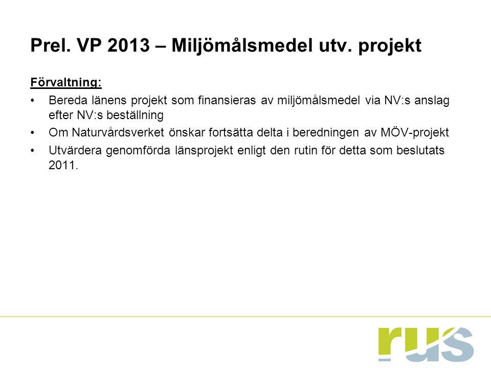 Prel. VP 2013 – Miljömålsmedel utv. projekt Förvaltning: Bereda länens projekt som finansieras av miljömålsmedel via NV:s anslag efter NV:s beställnin