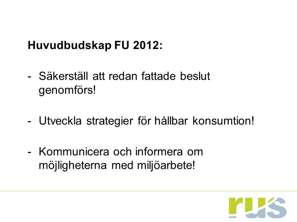 Huvudbudskap FU 2012: -Säkerställ att redan fattade beslut genomförs! -Utveckla strategier för hållbar konsumtion! -Kommunicera och informera om möjli