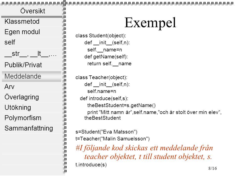 Översikt Klassmetod Egen modul self __str__, __lt__,… Publik/Privat Meddelande Arv Överlagring Utökning Polymorfism Sammanfattning 8/16 Exempel class