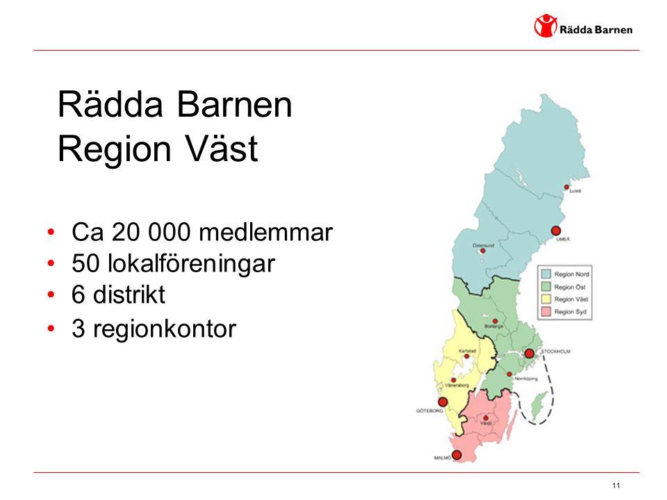 11 Rädda Barnen Region Väst Ca 20 000 medlemmar 50 lokalföreningar 6 distrikt 3 regionkontor