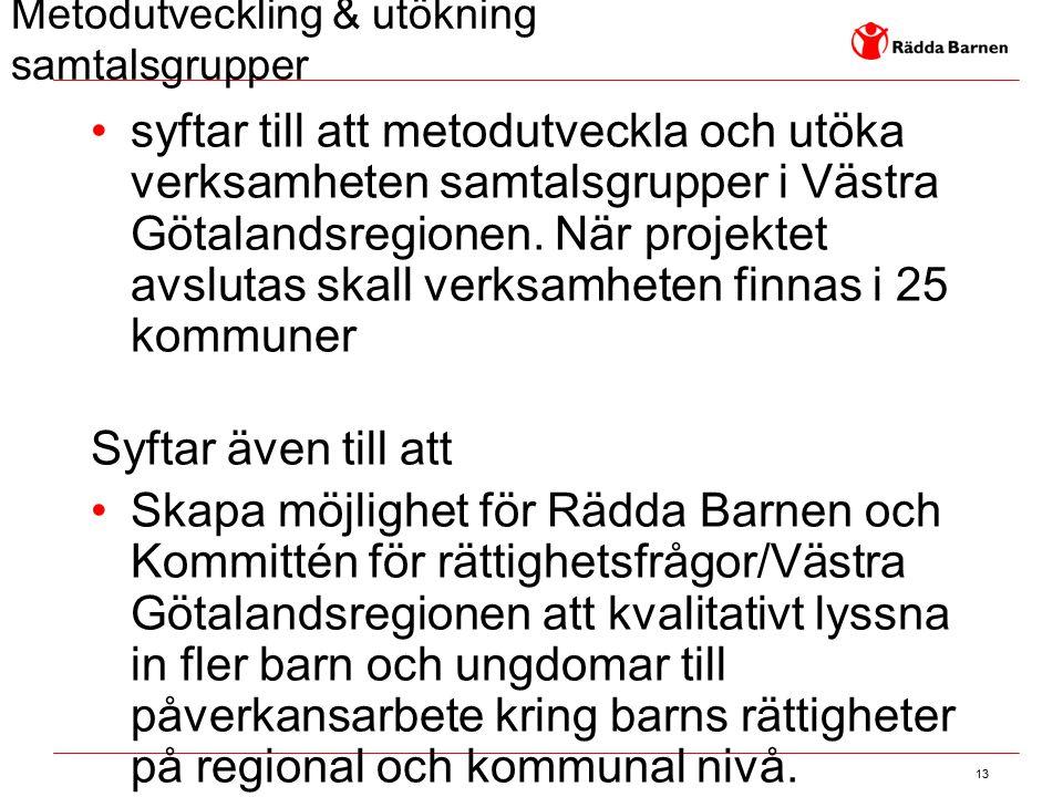 13 Metodutveckling & utökning samtalsgrupper syftar till att metodutveckla och utöka verksamheten samtalsgrupper i Västra Götalandsregionen. När proje