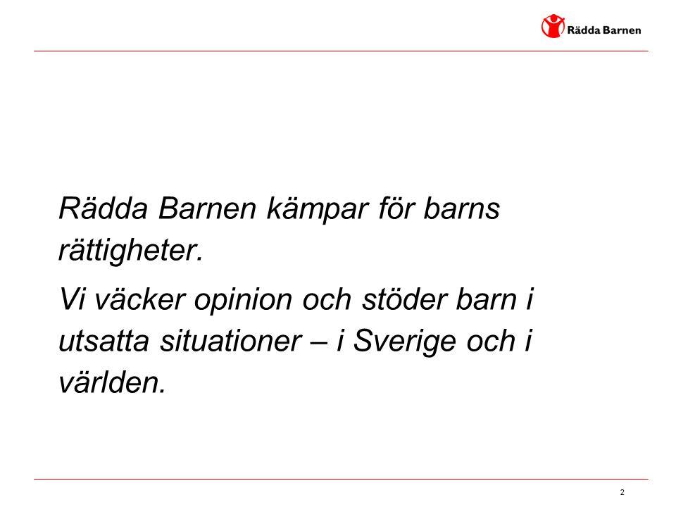 2 Rädda Barnen kämpar för barns rättigheter. Vi väcker opinion och stöder barn i utsatta situationer – i Sverige och i världen.