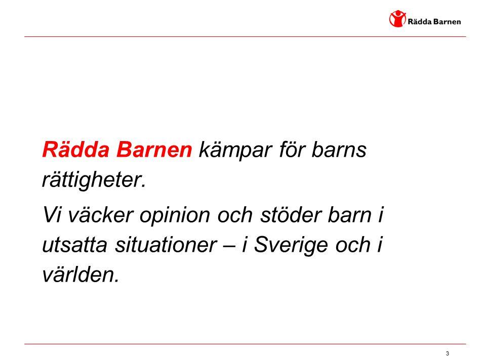 3 Rädda Barnen kämpar för barns rättigheter. Vi väcker opinion och stöder barn i utsatta situationer – i Sverige och i världen.