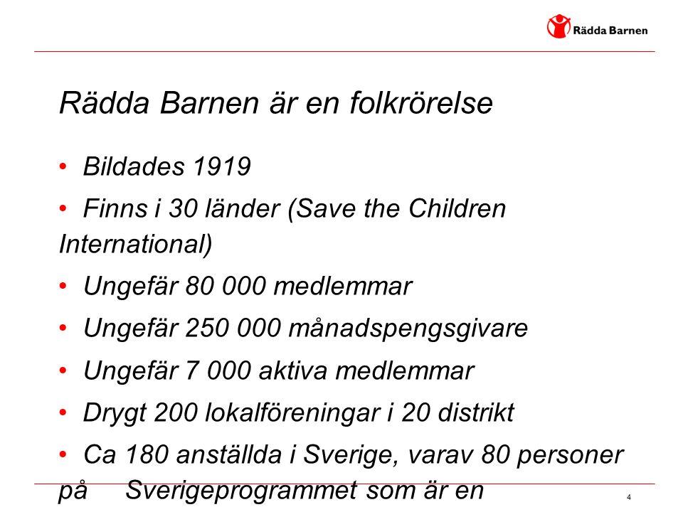 4 Rädda Barnen är en folkrörelse Bildades 1919 Finns i 30 länder (Save the Children International) Ungefär 80 000 medlemmar Ungefär 250 000 månadspeng