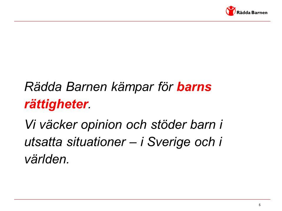 5 Rädda Barnen kämpar för barns rättigheter. Vi väcker opinion och stöder barn i utsatta situationer – i Sverige och i världen.