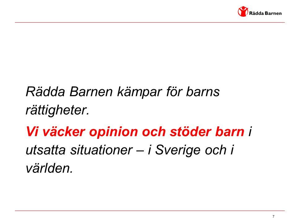 7 Rädda Barnen kämpar för barns rättigheter. Vi väcker opinion och stöder barn i utsatta situationer – i Sverige och i världen.