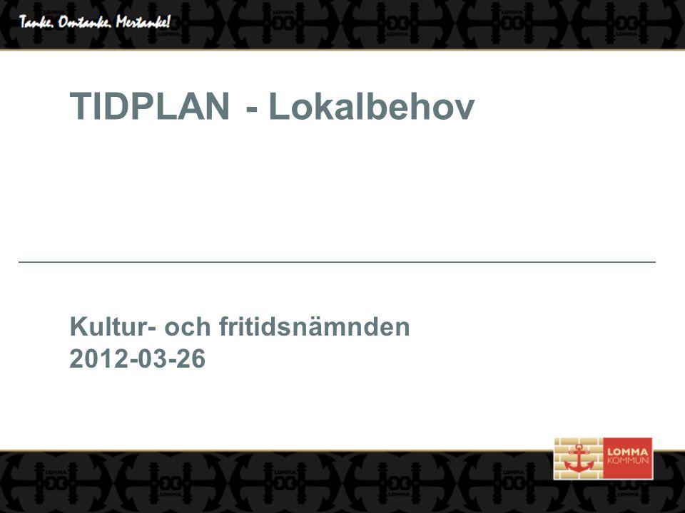 TIDPLAN - Lokalbehov Kultur- och fritidsnämnden 2012-03-26