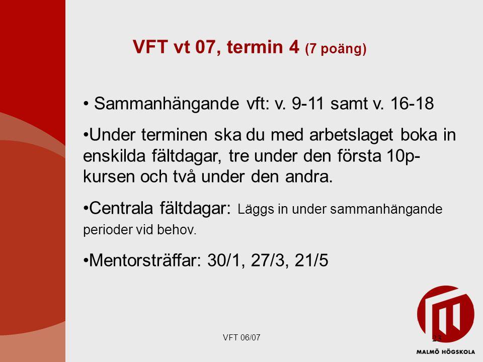 VFT 06/07 23 VFT vt 07, termin 4 (7 poäng) Sammanhängande vft: v.