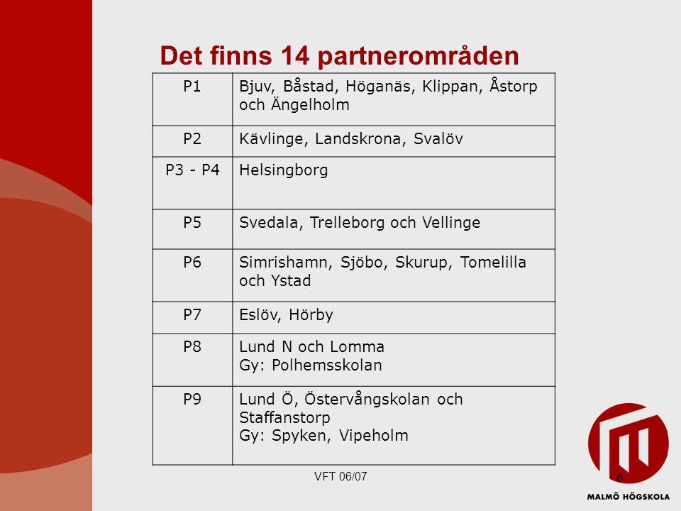 VFT 06/07 6 P1Bjuv, Båstad, Höganäs, Klippan, Åstorp och Ängelholm P2Kävlinge, Landskrona, Svalöv P3 - P4Helsingborg P5Svedala, Trelleborg och Vellinge P6Simrishamn, Sjöbo, Skurup, Tomelilla och Ystad P7Eslöv, Hörby P8Lund N och Lomma Gy: Polhemsskolan P9Lund Ö, Östervångskolan och Staffanstorp Gy: Spyken, Vipeholm Det finns 14 partnerområden