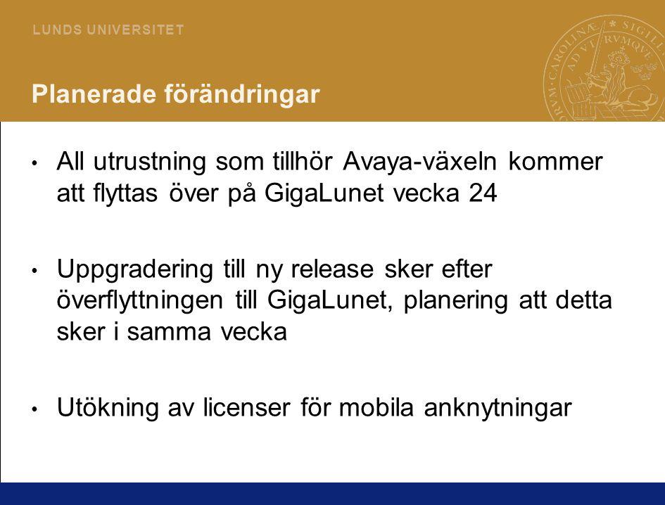 3 L U N D S U N I V E R S I T E T Planerade förändringar All utrustning som tillhör Avaya-växeln kommer att flyttas över på GigaLunet vecka 24 Uppgradering till ny release sker efter överflyttningen till GigaLunet, planering att detta sker i samma vecka Utökning av licenser för mobila anknytningar