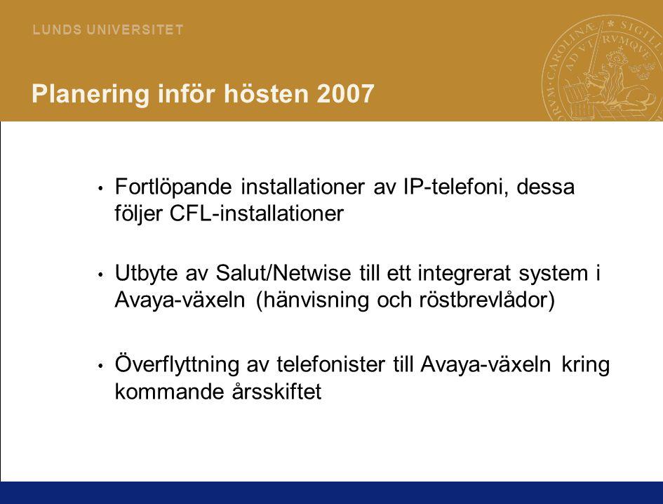 9 L U N D S U N I V E R S I T E T Planering inför hösten 2007 Fortlöpande installationer av IP-telefoni, dessa följer CFL-installationer Utbyte av Salut/Netwise till ett integrerat system i Avaya-växeln (hänvisning och röstbrevlådor) Överflyttning av telefonister till Avaya-växeln kring kommande årsskiftet