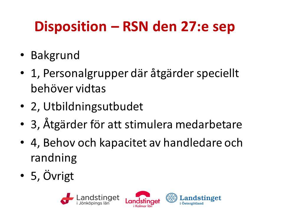 Disposition – RSN den 27:e sep Bakgrund 1, Personalgrupper där åtgärder speciellt behöver vidtas 2, Utbildningsutbudet 3, Åtgärder för att stimulera m