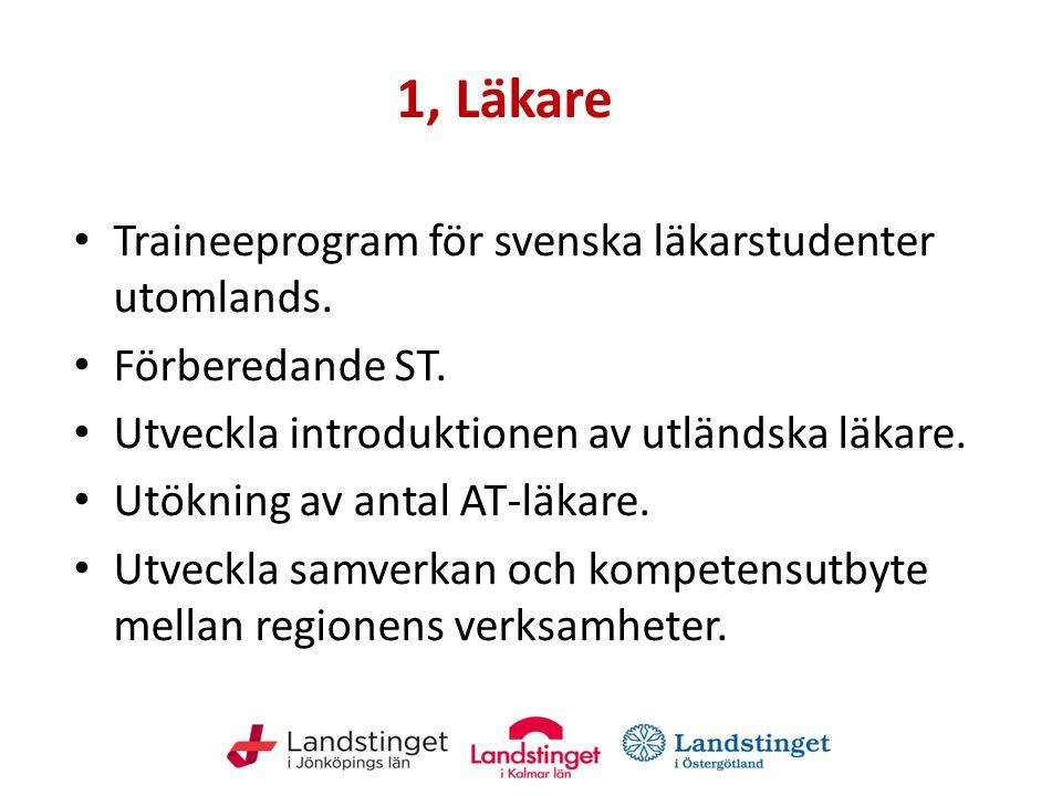 1, Läkare Traineeprogram för svenska läkarstudenter utomlands. Förberedande ST. Utveckla introduktionen av utländska läkare. Utökning av antal AT-läka