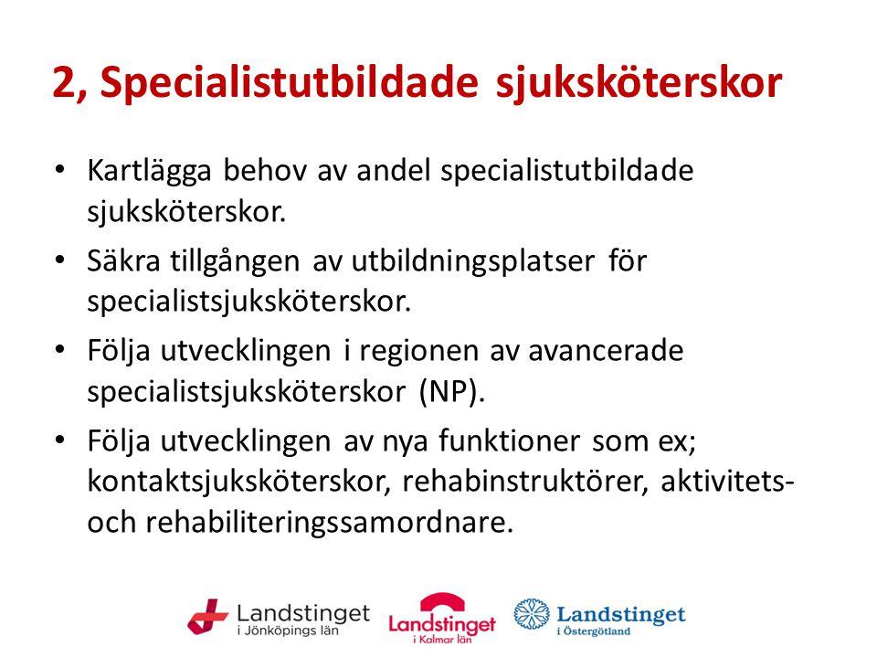 2, Specialistutbildade sjuksköterskor Kartlägga behov av andel specialistutbildade sjuksköterskor. Säkra tillgången av utbildningsplatser för speciali