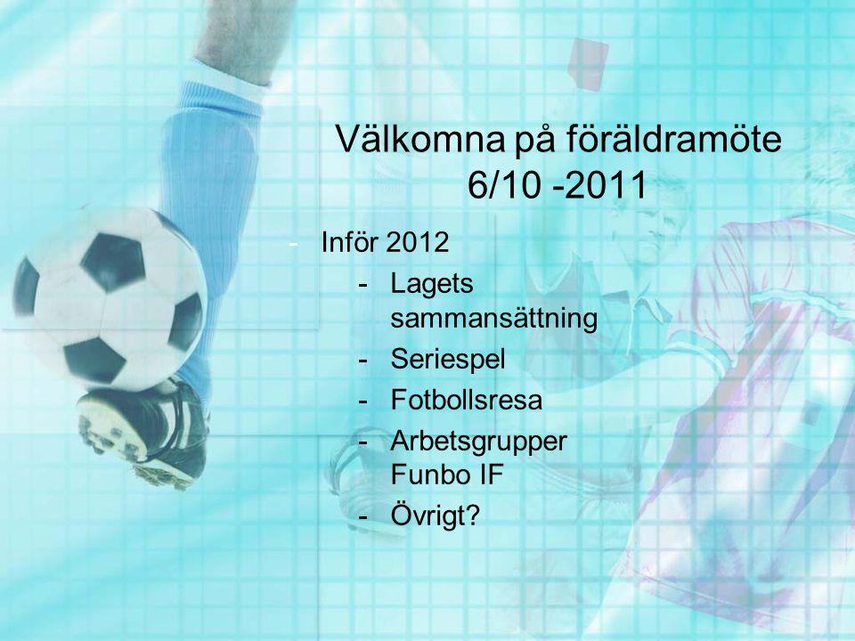 Välkomna på föräldramöte 6/10 -2011 -Inför 2012 -Lagets sammansättning -Seriespel -Fotbollsresa -Arbetsgrupper Funbo IF -Övrigt