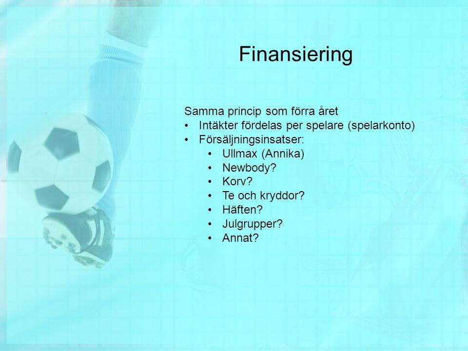 Finansiering Samma princip som förra året Intäkter fördelas per spelare (spelarkonto) Försäljningsinsatser: Ullmax (Annika) Newbody.