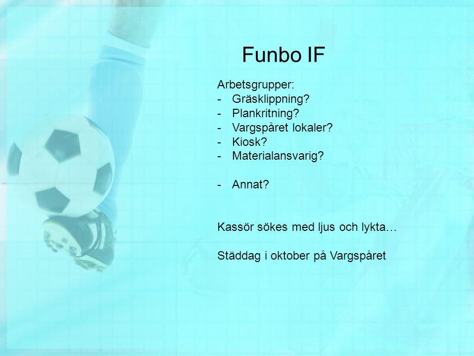 Funbo IF Arbetsgrupper: -Gräsklippning. -Plankritning.