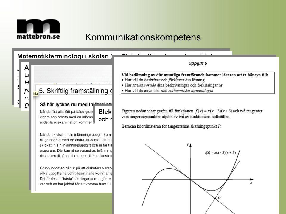 Matematikterminologi i skolan (se Christer Kieselmans hemsida) term formel definition uttryck som beskriver samband med hjälp av symboler exempel Form