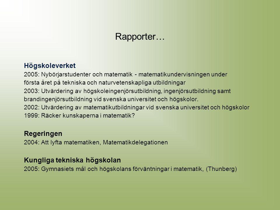 Rapporter… Högskoleverket 2005: Nybörjarstudenter och matematik - matematikundervisningen under första året på tekniska och naturvetenskapliga utbildn